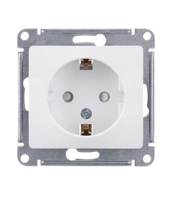 Механизм розетки Schneider Electric Glossa с/у с заземлением со шторками белый рамка schneider electric glossa 284581