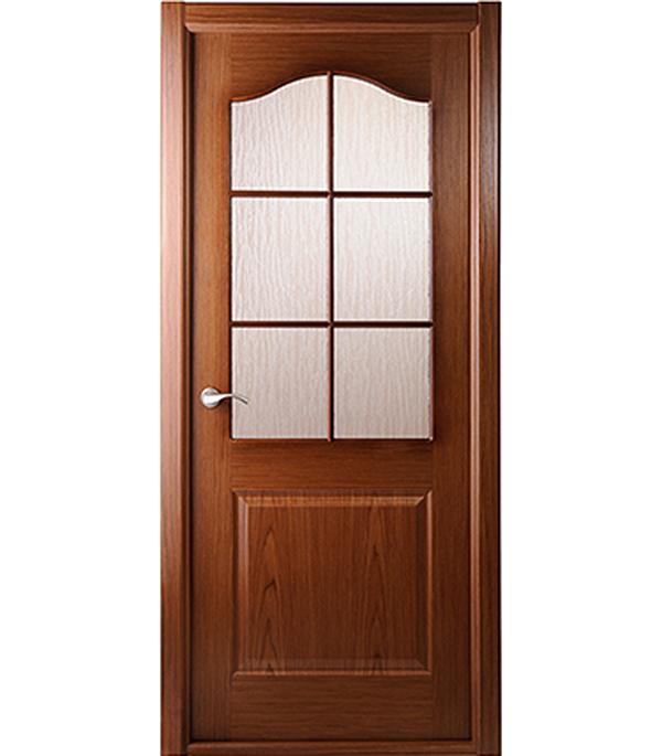 Дверное полотно Белвуддорс Капричеза шпонированное Орех 600x2000 мм со стеклом без притвора