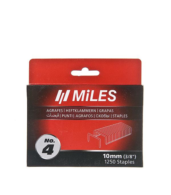 Скобы для степлера 10 мм, тип 140, (10,6x1,2) П-образные, 1250 шт Miles Профи