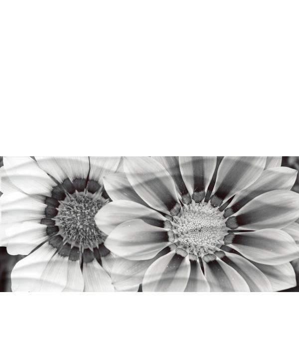 Плитка декор 200х440х8,5 мм Вейв Блэк Флауэрс 443 рельеф