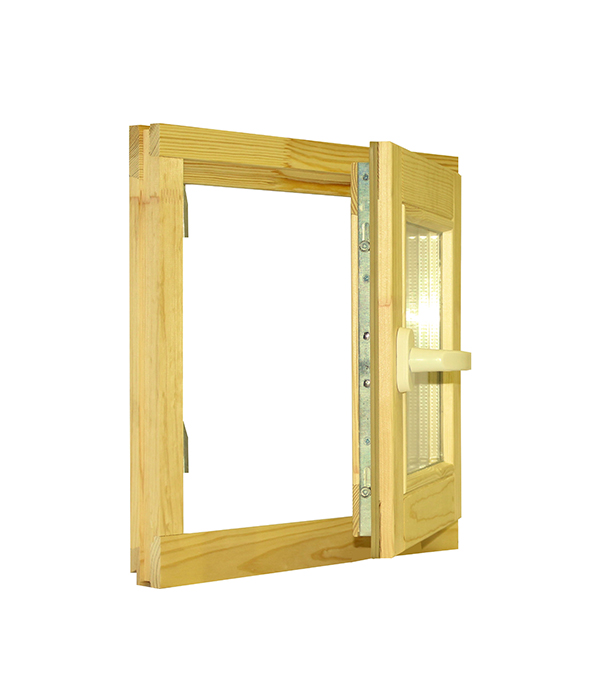 Окно деревянное РадДоз 460х470 мм 1 створка (поворотная) анкерная пластина 150х25х1 2 мм 10 шт поворотная для профиля rehau