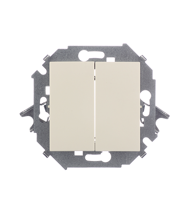 Механизм выключателя двухклавишного 16А, Simon 15, слоновая кость