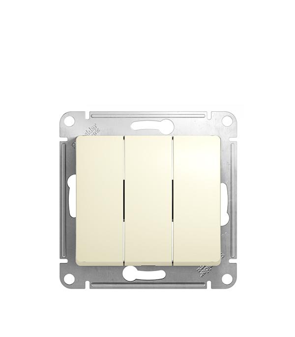 Механизм выключателя трехклавишного с/у Schneider Electric Glossa бежевый