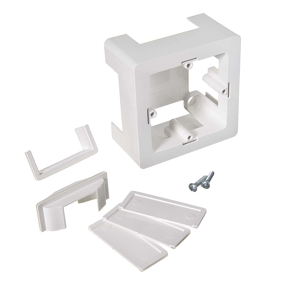 Коробка монтажная для кабель-каналов ДКС универсальная, 2 модуля белая, Viva (монтируется с рамкой)
