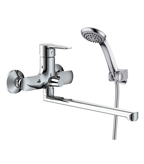 Смеситель для ванны и душа с длинным изливом  IDDIS CUBA CUBSBL2i10 однорычажный с лейкой смеситель для ванны smartsant смарт прайм sm113502aa