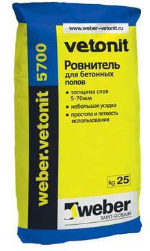 Ветонит 5700 (Вебер.Ветонит) (базовый ровнитель для пола на цементном вяжущем), 25 кг