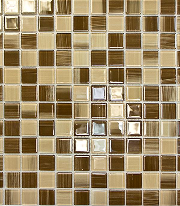 Мозаика стеклянная 327х327х4 мм бежевый полосатый на сетке (10 шт = 1,07 кв.м)