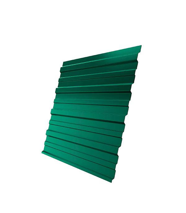 Профнастил С10 1.18х2.00 м толщина 0.5 мм двухсторонний зеленый RAL 6005 профнастил н57 купить в уфе