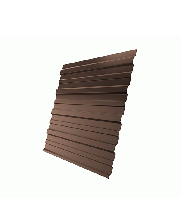 Профнастил С-10 1,18х2,00 м, толщина 0,5 мм 2х сторонний коричневый RAL 8017
