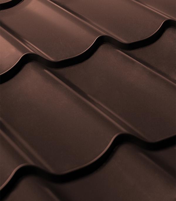 Металлочерепица 1,18х3,60 м толщина 0,4 мм коричневая RAL8017 Монтеррей колпак на столб 400х400 коричневый ral 8017