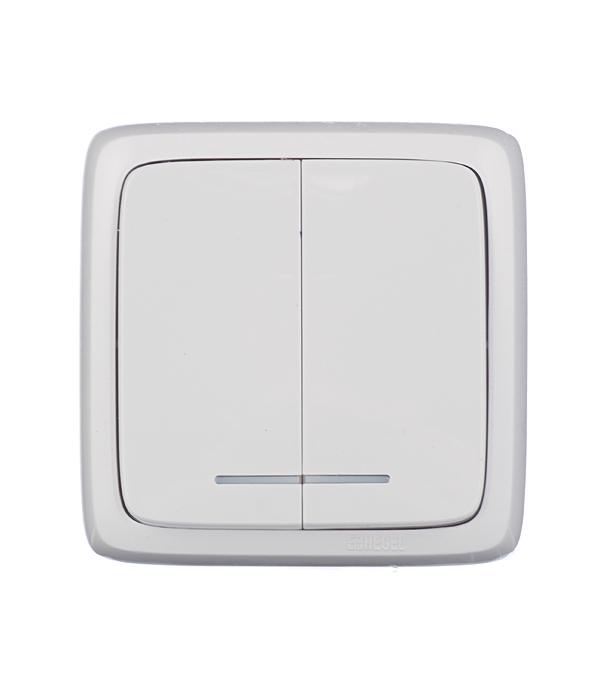 Выключатель двухклавишный HEGEL Slim о/у с индикацией белый выключатель двухклавишный наружный бежевый 10а quteo