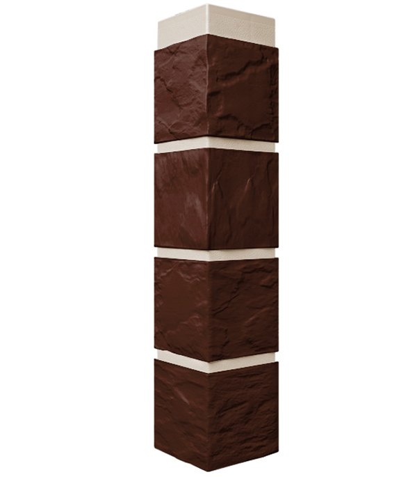 Фасадный угол наружный FineBer 115х115х470 мм Камень коричневый