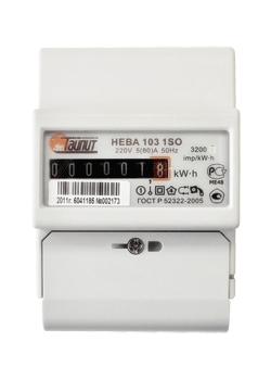 Счетчик 1-фазный электронный 1-тарифный Нева 103 1SO (5-60А) на дин-рейку