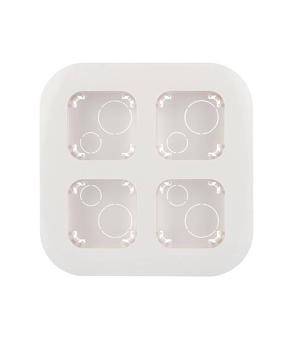 Рамка четырехместная для накладного монтажа LegrandQuteo белая выключатель двухклавишный наружный бежевый 10а quteo