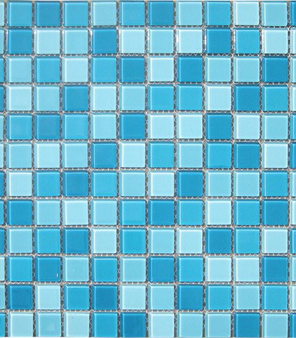 Мозаика стеклянная 327х327х4 мм бело-голубой микс на сетке (10 шт = 1,07 кв.м)
