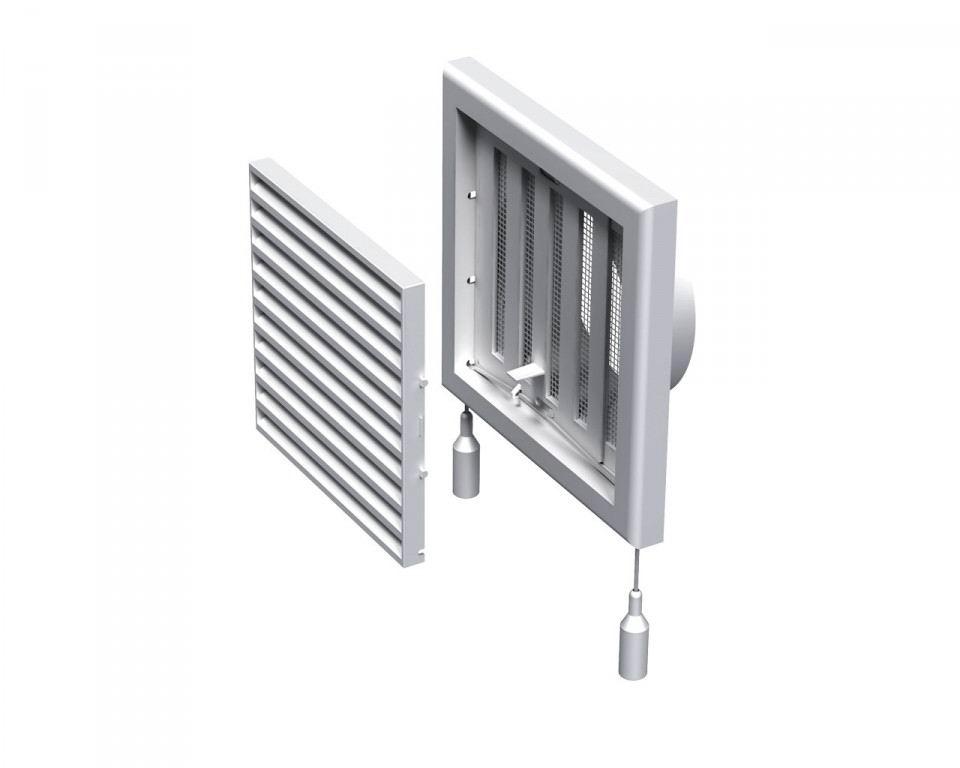 Решетка вентиляционная пластиковая 186х186 мм регулируемая c фланцем d125 мм Вентс