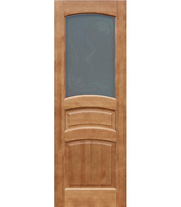 Дверное полотно массив  тонированный лак ДФО 800х2000 мм со стеклом (Белоруссия)
