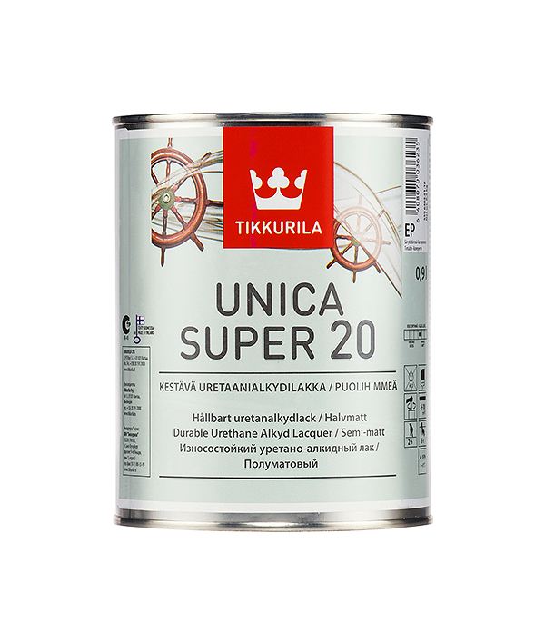 Яхтный лак Tikkurila Unica Super основа EP полуматовый 0.9 л  лак яхтный unica super основа ep полуматовый тиккурила 9 л