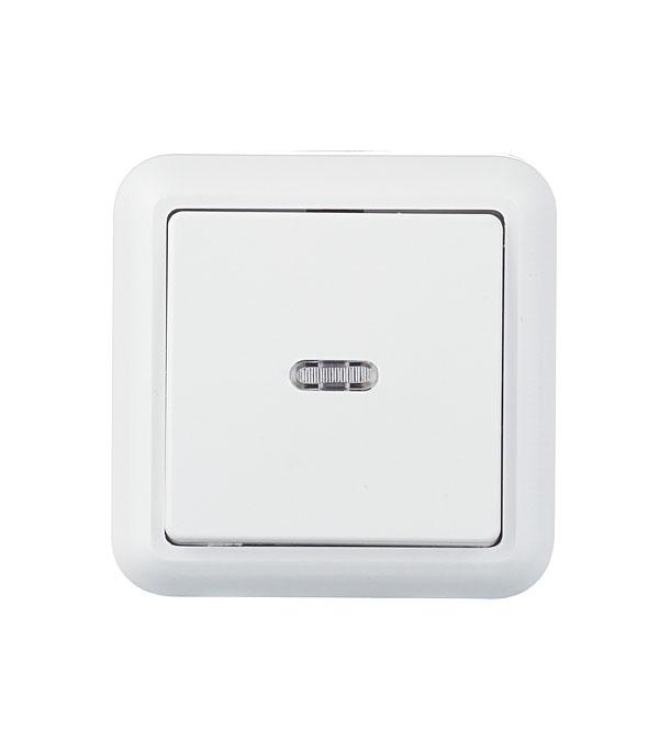 Выключатель одноклавишный Оптима о/у с подсветкой белый с монтажной пластиной 250В 10А выключатель одноклавишный legrandquteo о у влагозащищенный ip 44 белый