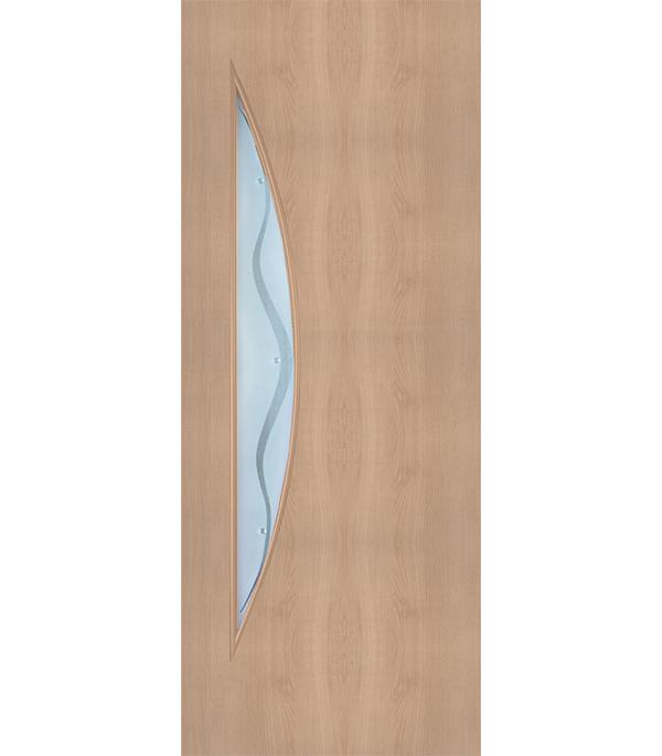 Дверное полотно с 3D покрытием Луна Дуб Глостер 600х2000 мм, со стеклом