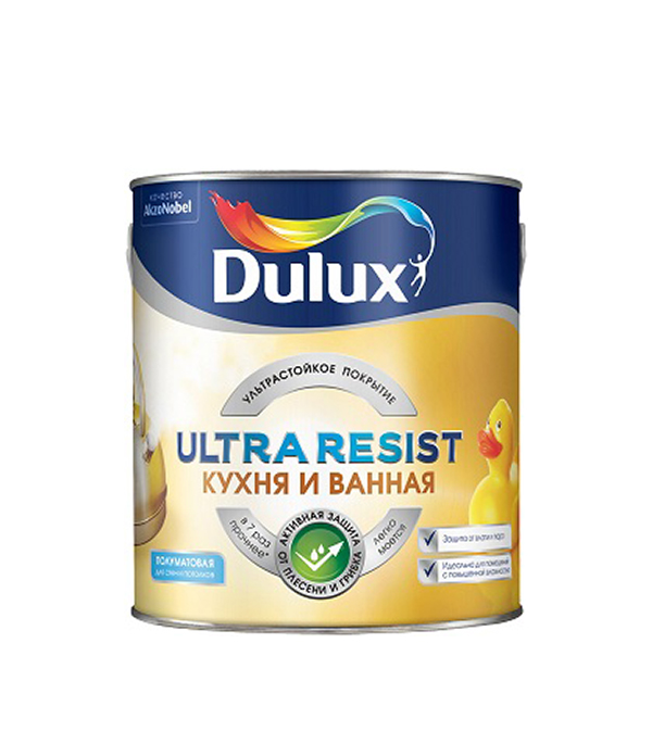 Краска в/д кухня и ванная Ultra Resist основа BW Dulux 2,5 л краска в д ослепительно белая dulux 2 5 л