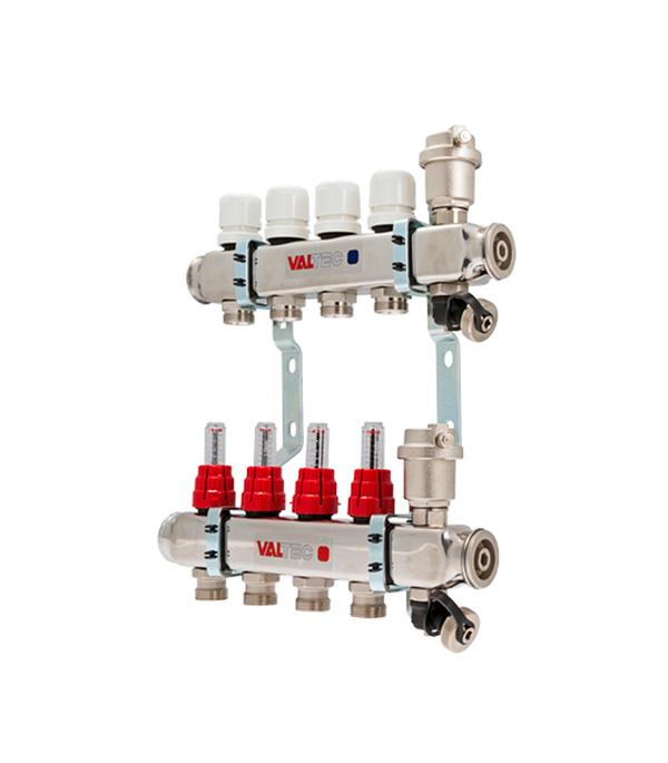 Коллекторная группа Valtec 1 х 4 отводов с расходомерами нержавеющая сталь коллектор gf 3 4 внутр г х 3 отвода 1 2 нар ш х 3 4 нар ш регулируемый
