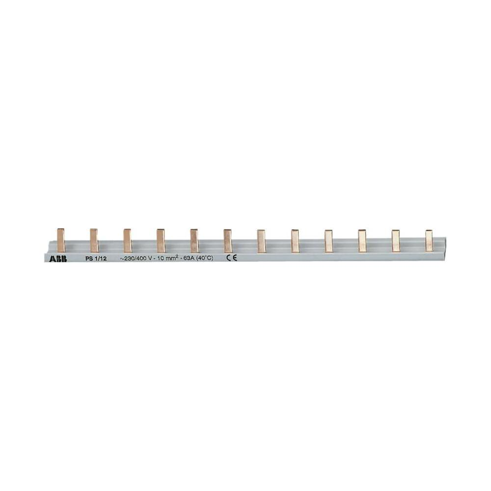 Шина соединительная, тип PIN (штырь), 1-рядная, до 63А, на 12 модулей, ABB