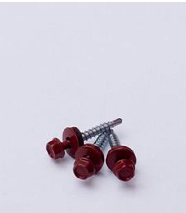 Саморезы кровельные с буром, 19х5,5 мм красные RAL 3009