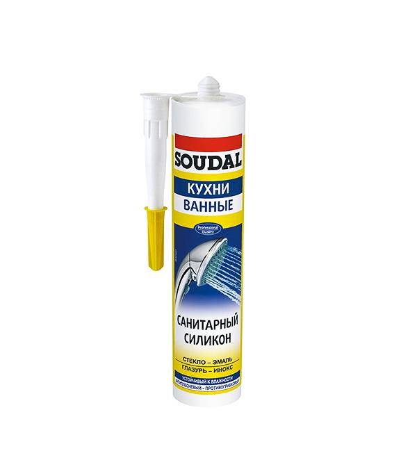 Герметик силиконовый Soudal санитарный белый 300 мл  герметик для паркета soudal бук 300 мл