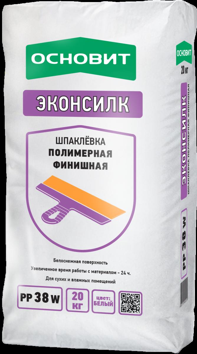 Шпаклевка полимерная финишная Основит РР38 W Эконсилк белая 20 кг щебень фракция 20 40 мм 50 кг