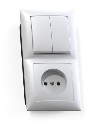 Блок Селена с/у белый (2-кл. выкл. 10А + розетка без з/к 16А)