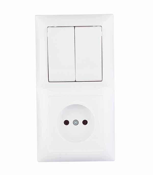 Блок Селена с/у белый двухклавишный выключатель 10А + розетка без з/к 16А выключатель двухклавишный legrandquteo о у белый