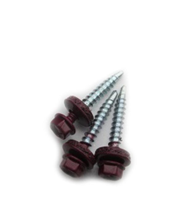 Саморезы кровельные с буром 50х4,8 мм красное вино RAL 3005 (200 шт)