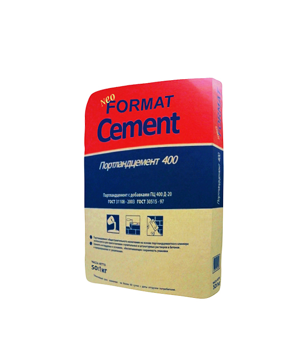 Цемент   М400 Д20 (ЦЕМ II А-Ш 32,5), 50 кг