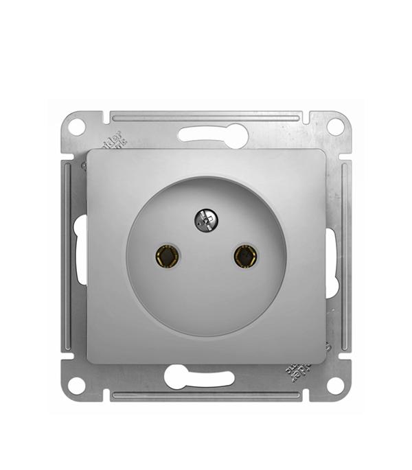 Механизм розетки с/у без заземления SchneiderElectricGlossa алюминий механизм выключателя schneider electric glossa белый 1 клавишный с подсветкой gsl000113