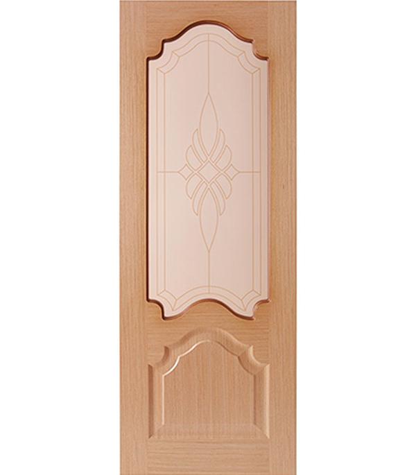 Дверное полотно  ДПО Венеция шпонированное Светлый дуб 700 x 2000 мм без притвора со стеклом