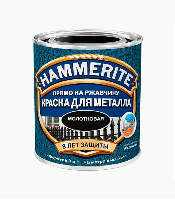 Грунт-эмаль по ржавчине 3 в 1 Hammerite молотковая черная 2.5 л  цена и фото