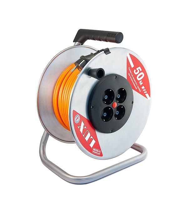 Удлинитель силовой на катушке 16А К4-Е-50 (ПВС 3x1.5) 4 встр. розетки с/з 50м Lux