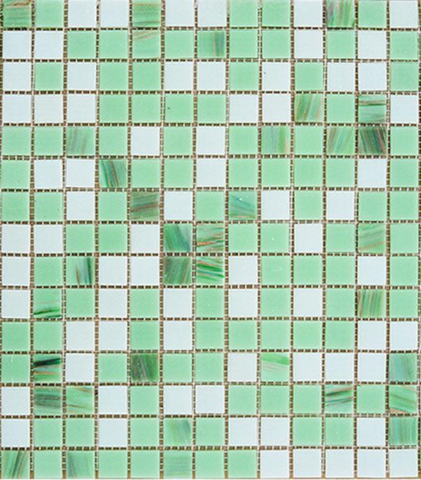Мозаика стекломасса 327х327х4 мм зеленый микс на сетке (10 шт = 1,07 кв.м)