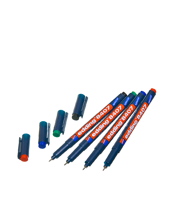 Перманентный маркер Edding 8407 набор 4 цвета для кабеля и ПВХ 0.3 мм маркер белый для изделий из резины шин 2 4 мм edding 8050