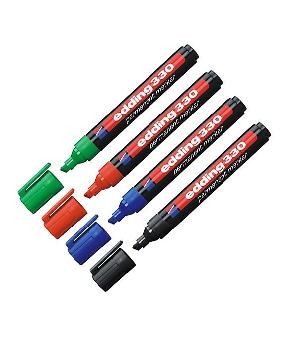 Маркер набор 4 цвета перманентный скошенный 1-5 мм Edding 330