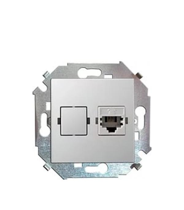 Механизм розетки телефонной RJ11, Simon 15, белый  механизм диммера 500вт 230в simon 15 белый