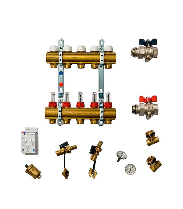 Коллекторная группа Tiemme 1 х 5 отводов с расходомерами коллектор gf 3 4 внутр г х 3 отвода 1 2 нар ш х 3 4 нар ш регулируемый