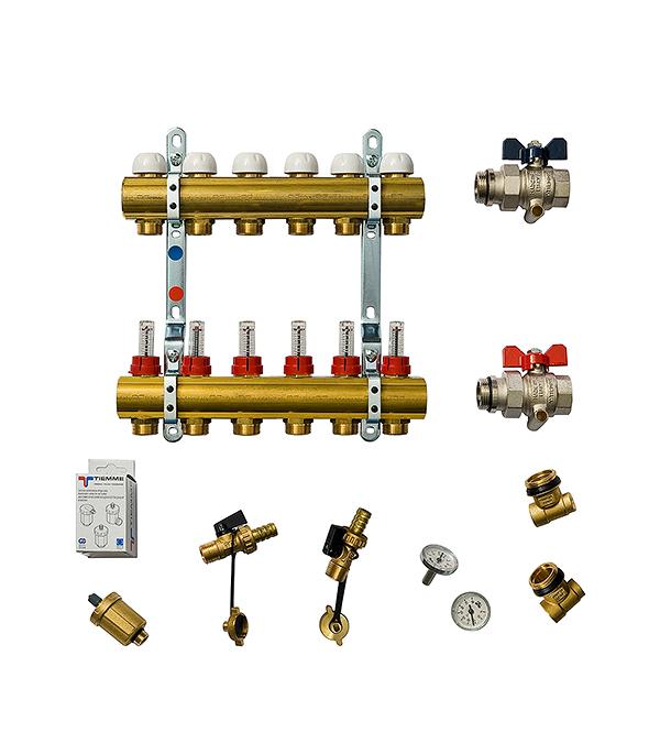 Коллекторная группа Tiemme 1 х 6 отводов с расходомерами коллектор gf 3 4 внутр г х 3 отвода 1 2 нар ш х 3 4 нар ш регулируемый
