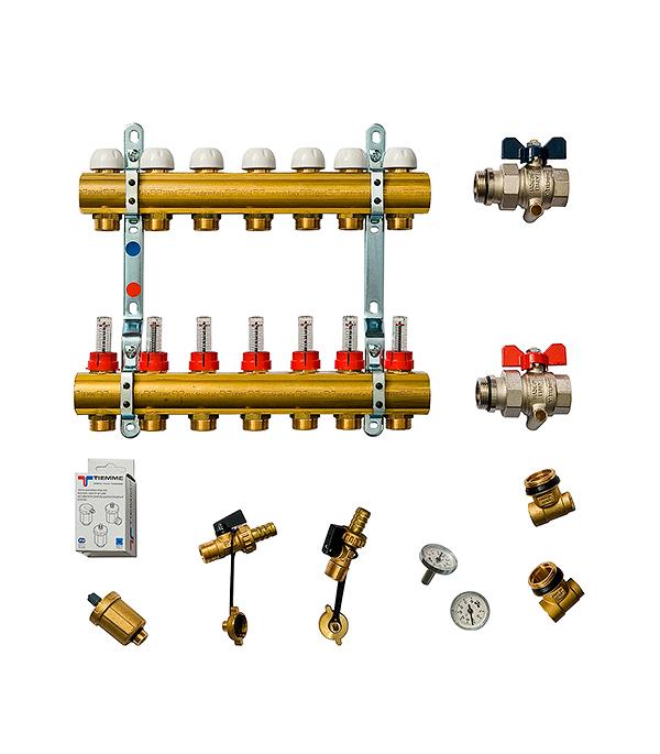 Коллекторная группа Tiemme 1 х 7 отводов с расходомерами коллектор gf 3 4 внутр г х 3 отвода 1 2 нар ш х 3 4 нар ш регулируемый
