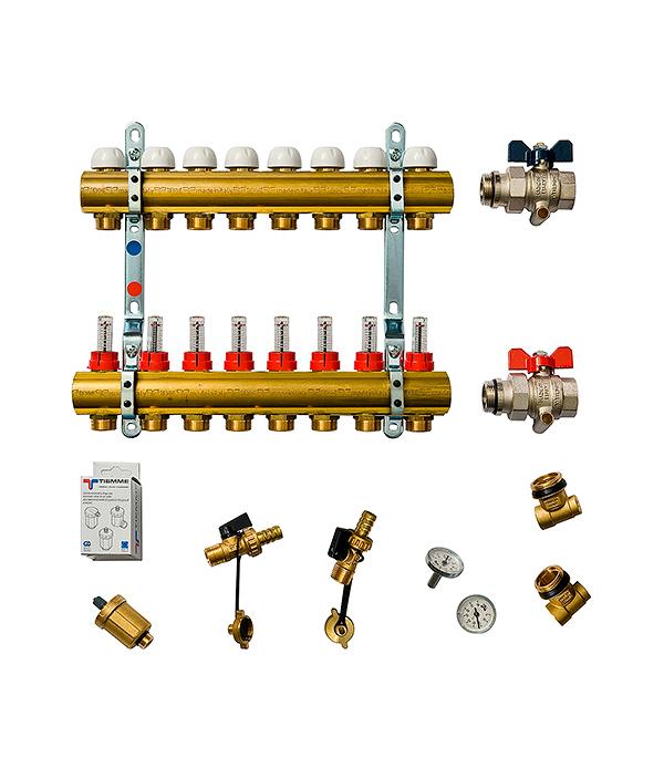 Коллекторная группа Tiemme 1 х 8 отводов с расходомерами коллектор gf 3 4 внутр г х 3 отвода 1 2 нар ш х 3 4 нар ш регулируемый