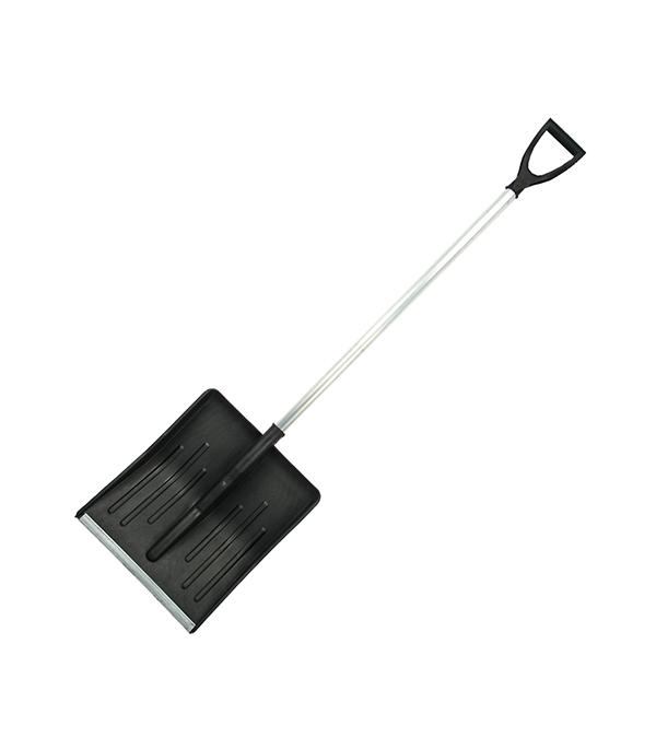 Лопата снеговая пластиковая с алюминиевым черенком 340х400 Землеройка