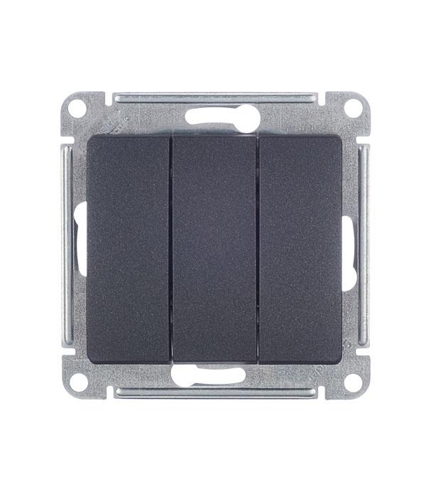 Механизмвыключателятрехклавишногос/уSchneiderElectricGlossa антрацит механизм выключателя schneider electric glossa белый 1 клавишный с подсветкой gsl000113