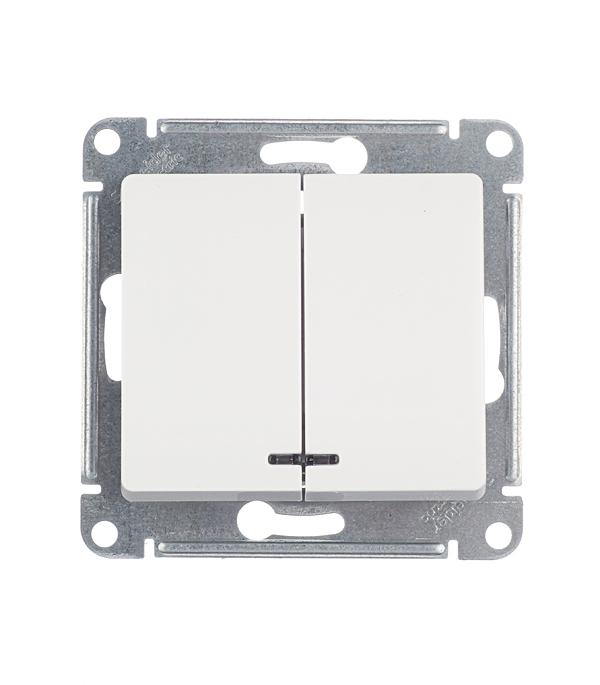 Механизм выключателя двухклавишного Schneider Electric Glossa с/у с подсветкой белый механизм выключателя schneider electric glossa белый 1 клавишный с подсветкой gsl000113