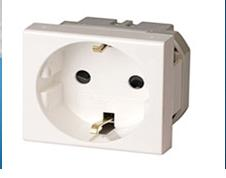 Розетка силовая для кабель-канала ДКС со шторками белая 2 модуля,Viva